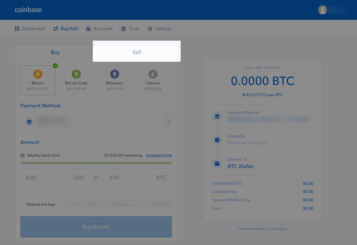Click Coinbase Sell Tab