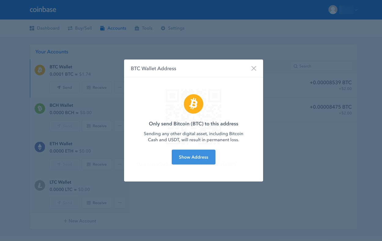 Coinbase Receive Address Warning